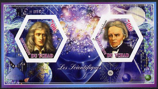 Chad 2014 Scientists #2 imperf sheetlet containing two hexagonal-shaped values unmounted mint