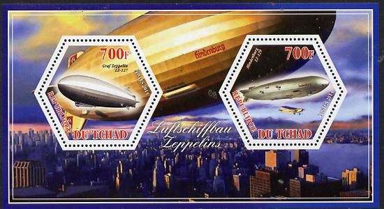 Chad 2014 Airships #1 perf sheetlet containing two hexagonal-shaped values unmounted mint