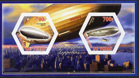 Chad 2014 Airships #1 imperf sheetlet containing two hexagonal-shaped values unmounted mint