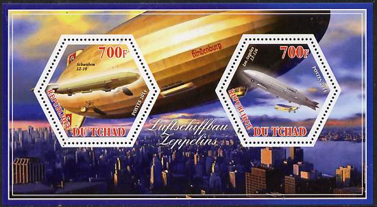 Chad 2014 Airships #2 perf sheetlet containing two hexagonal-shaped values unmounted mint
