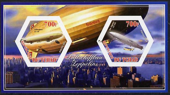 Chad 2014 Airships #2 imperf sheetlet containing two hexagonal-shaped values unmounted mint