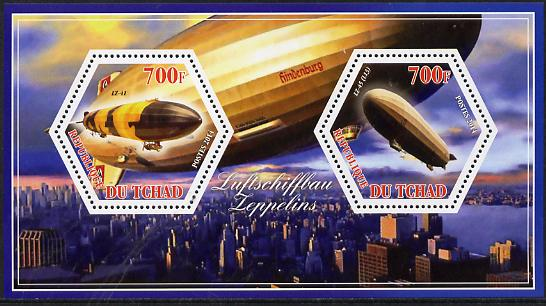Chad 2014 Airships #3 perf sheetlet containing two hexagonal-shaped values unmounted mint