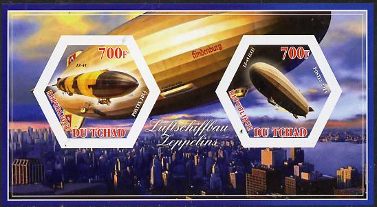 Chad 2014 Airships #3 imperf sheetlet containing two hexagonal-shaped values unmounted mint