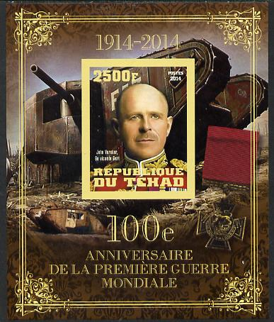 Chad 2014 Centenary of Start of WW1 #2 imperf deluxe sheet containing one value unmounted mint