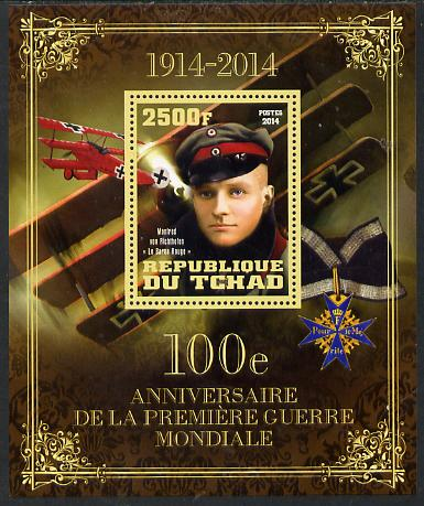 Chad 2014 Centenary of Start of WW1 #3 perf deluxe sheet containing one value unmounted mint