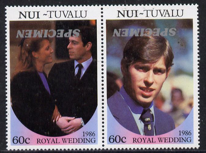 Tuvalu - Nui 1986 Royal Wedding (Andrew & Fergie) 60c perf se-tenant pair overprinted SPECIMEN in silver (Italic caps 26.5 x 3 mm) with overprint inverted unmounted mint
