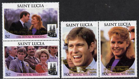 St Lucia 1986 Royal Wedding (Andrew & Fergie) set of 4 (2 se-tenant pairs) with 'Congratulations' opt in gold unmounted mint