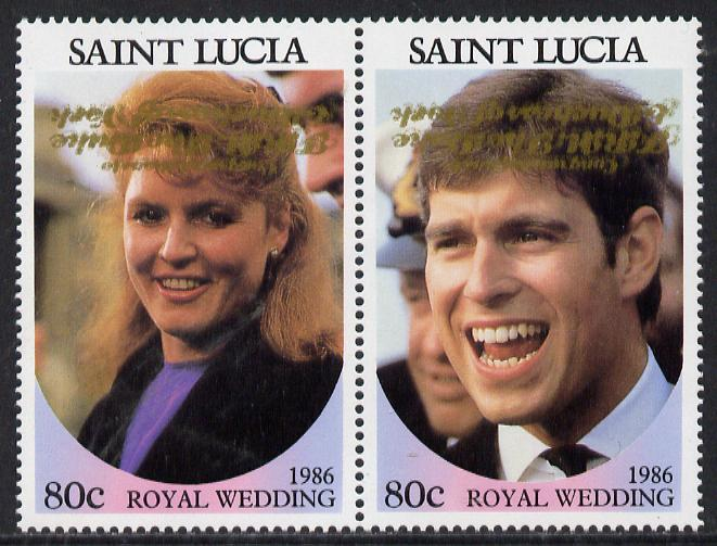 St Lucia 1986 Royal Wedding (Andrew & Fergie) 80c se-tenant pair with