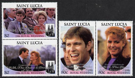 St Lucia 1986 Royal Wedding (Andrew & Fergie) set of 4 (2 se-tenant pairs) with