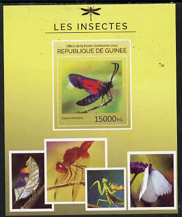 Guinea - Conakry 2014 Insects - Zygaena filipendulae (6 Spot Burnet Moth) imperf s/sheet unmounted mint. Note this item is privately produced and is offered purely on its thematic appeal