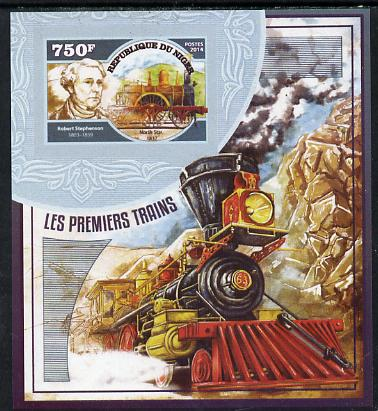 Niger Republic 2014 Early Steam Trains #2 imperf s/sheet unmounted mint. Note this item is privately produced and is offered purely on its thematic appeal