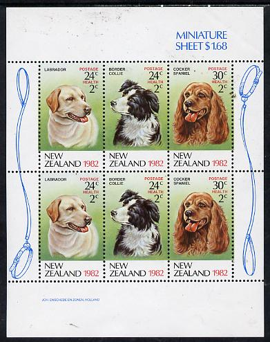 New Zealand 1982 Health - Dogs perf m/sheet unmounted mint, SG MS 1273