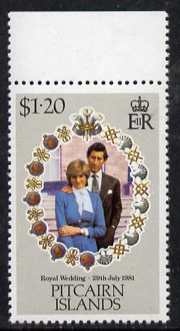 Pitcairn Islands 1981 Royal Wedding $1.20 with inverted watermark unmounted mint marginal SG 221w