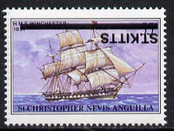 St Kitts 1980 Ships 55c with overprint inverted unmounted mint SG 45a