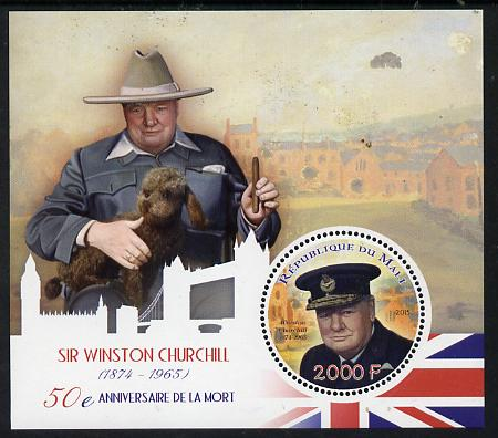 Mali 2015 Sir Winston Churchill perf sheetlet containing circular-shaped value unmounted mint