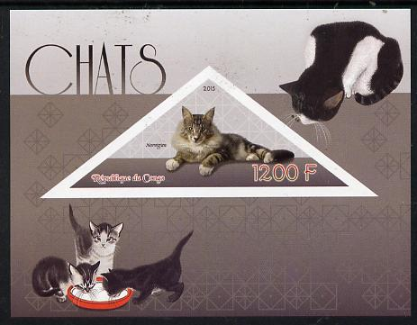 Congo 2015 Cats imperf sheetlet containing triangular-shaped value unmounted mint