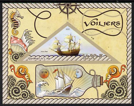 Congo 2015 Sailing Ships imperf deluxe sheet containing one triangular value unmounted mint