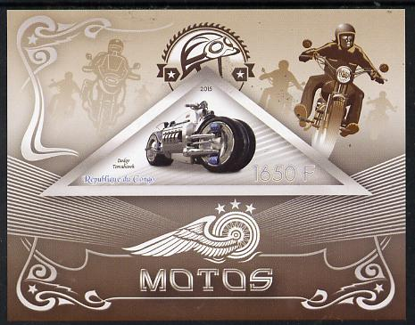 Congo 2015 Motor Cycles imperf deluxe sheet containing one triangular value unmounted mint