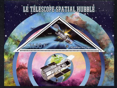 Congo 2015 Hubble Telescope perf deluxe sheet containing one triangular value unmounted mint