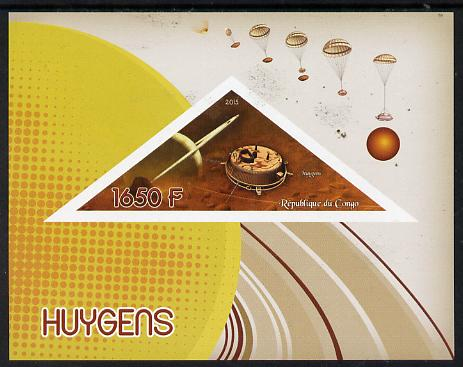 Congo 2015 Huygens Saturn Probe imperf deluxe sheet containing one triangular value unmounted mint