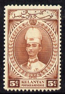 Malaya - Kelantan 1937-40 Sultan Ismail Chef's Hat 5c mounted mint SG 43