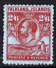 Falkland Islands 1929 Whale & Penguins 2s6d carmine on blue mounted mint SG 123