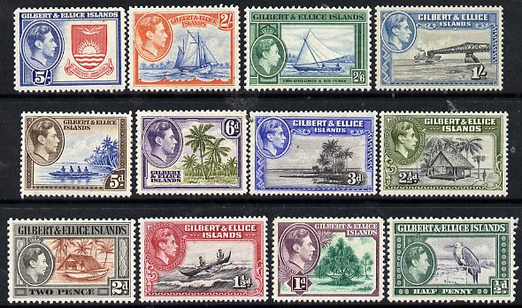Gilbert & Ellice Islands 1939 KG6 definitive set complete 1/2d to 5s (12 values) mountedd mint, SG 43-54