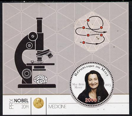 Mali 2015 Nobel prize for Medicine - May-Britt Moser perf sheet containing one circular shaped value unmounted mint