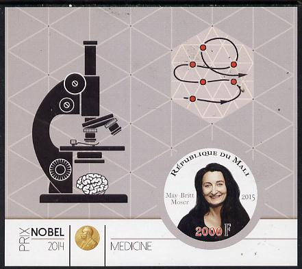 Mali 2015 Nobel prize for Medicine - May-Britt Moser imperf sheet containing one circular shaped value unmounted mint