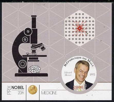 Mali 2015 Nobel prize for Medicine - Edvard Moser imperf sheet containing one circular shaped value unmounted mint