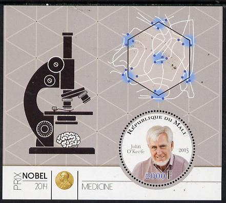 Mali 2015 Nobel prize for Medicine - John O'Keefe perf sheet containing one circular shaped value unmounted mint