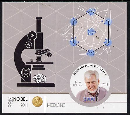Mali 2015 Nobel prize for Medicine - John O'Keefe imperf sheet containing one circular shaped value unmounted mint