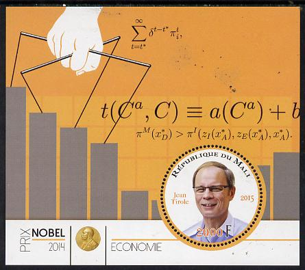 Mali 2015 Nobel prize for Economics - Jean Tirole perf sheet containing one circular shaped value unmounted mint