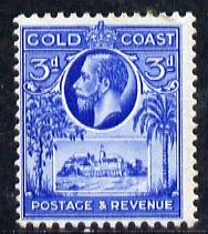 Gold Coast 1928 KG5 Christiansborg Castle 3d bright blue mounted mint SG 108