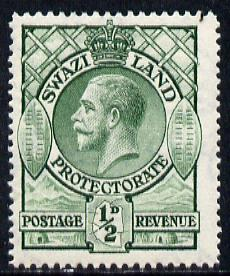 Swaziland 1933 KG5 1/2d green mounted mint SG 11