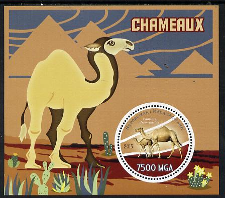 Madagascar 2015 Camels perf deluxe sheet containing one circular value unmounted mint