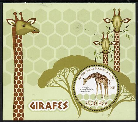 Madagascar 2015 Giraffes perf deluxe sheet containing one circular value unmounted mint