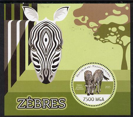 Madagascar 2015 Zebra perf deluxe sheet containing one circular value unmounted mint