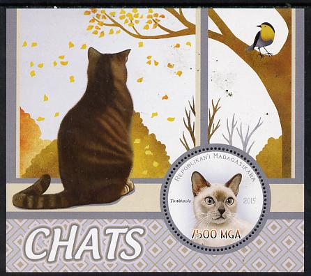 Madagascar 2015 Domestic Cats perf deluxe sheet containing one circular value unmounted mint