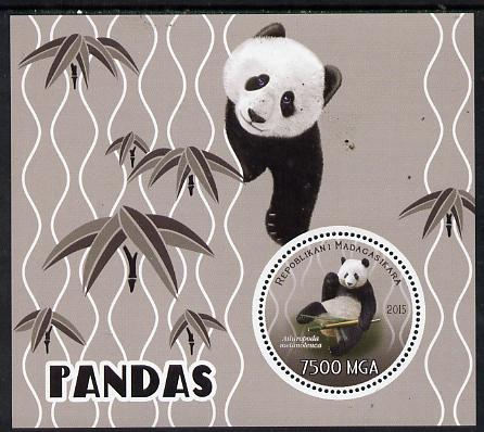 Madagascar 2015 Pandas perf deluxe sheet containing one circular value unmounted mint, stamps on animals, stamps on bears, stamps on pandas, stamps on shaped, stamps on circular