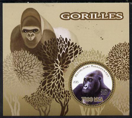 Madagascar 2015 Gorillas perf deluxe sheet containing one circular value unmounted mint