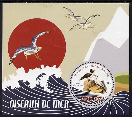 Madagascar 2015 Sea Birds perf deluxe sheet containing one circular value unmounted mint
