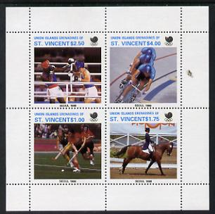 St Vincent - Union Island 1988 Seoul Olympic Games the unissued sheetlet containing set of 4 values unmounted mint