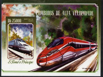 St Thomas & Prince Islands 2015 High Speed Trains #1 imperf deluxe m/sheet unmounted mint. Note this item is privately produced and is offered purely on its thematic appeal