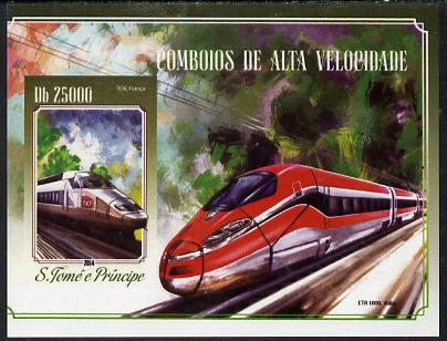 St Thomas & Prince Islands 2015 High Speed Trains #4 imperf deluxe m/sheet unmounted mint. Note this item is privately produced and is offered purely on its thematic appeal