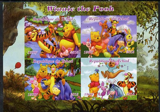 Chad 2015  Winnie The Pooh #1 imperf sheetlet containing 4 values unmounted mint. Note this item is privately produced and is offered purely on its thematic appeal. .