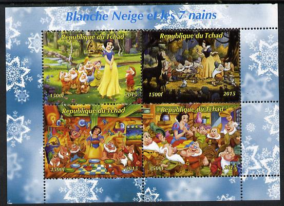 Chad 2015  Snow White & the 7 Dwarfs perf sheetlet containing 4 values unmounted mint. Note this item is privately produced and is offered purely on its thematic appeal. ..., stamps on disney.