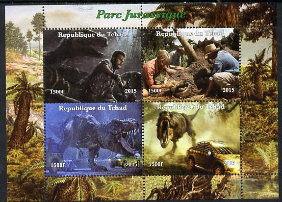 Chad 2015  Jurassic Park perf sheetlet containing 4 values unmounted mint. Note this item is privately produced and is offered purely on its thematic appeal. .