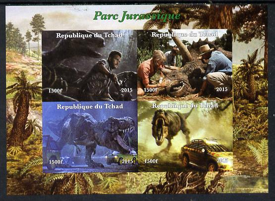 Chad 2015  Jurassic Park imperf sheetlet containing 4 values unmounted mint. Note this item is privately produced and is offered purely on its thematic appeal. . , stamps on films, stamps on  tv , stamps on dinosaurs