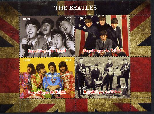 Chad 2015  The Beatles perf sheetlet containing 4 values unmounted mint. Note this item is privately produced and is offered purely on its thematic appeal. .